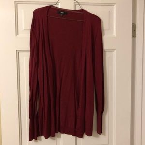 Mossimo Long Sleeve Cardigan- Size Large-Dark Red